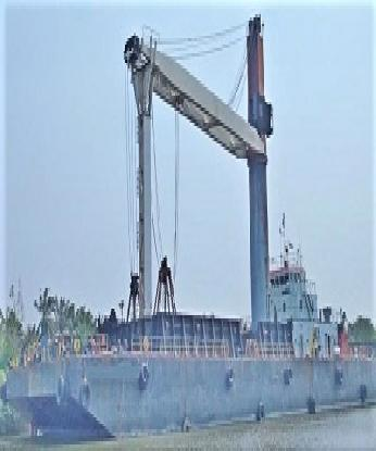 STEEL CRANE BARGE WITH GRAB FOR SALE - BLT 2007 IN SEMBAWANG SHIPYARD SINGAPORE